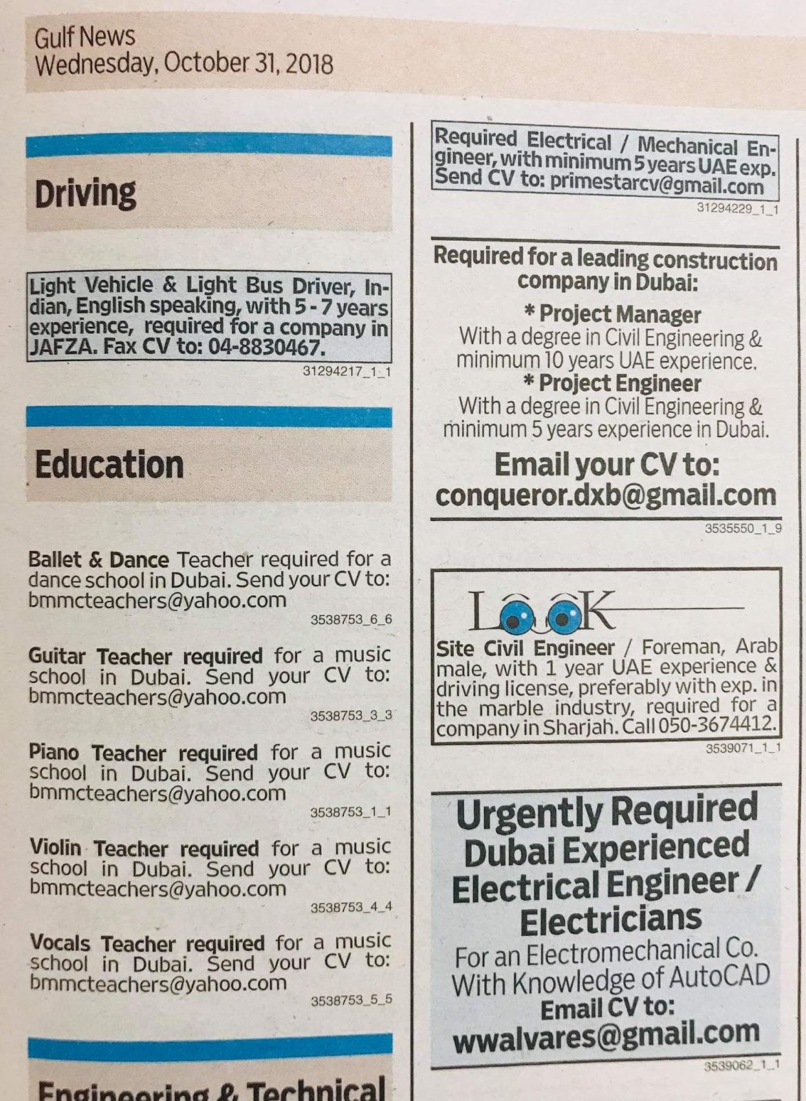designer fashion cf64e 18d65 Required Various Categories UAE Jobs Local Hiring Khaleej Times-UAE ...