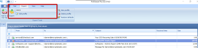 Screen shot showing the location of the EML file to DOCx exporter function in EmlViewer Pro.
