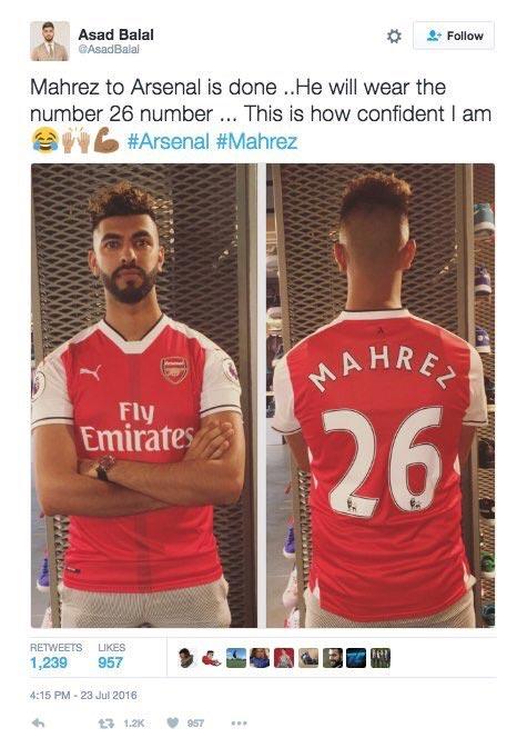 People mock Arsenal fan for buying Mahrez's Arsenal jersey as Mahrez shuns Arsenal for Leicester