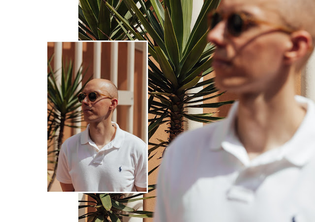 mat buckets wearing ralph lauren mesh white polo shirt custom fit in italy