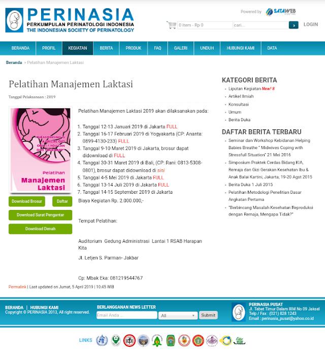 Pelatihan Manejemen Laktasi 2019-PERINASIA (14-15 September 2019) Jakarta