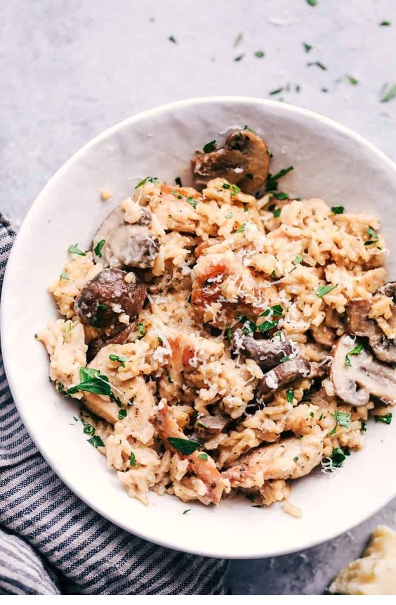 One Pot Creamy Parmesan Chicken With Mushroom Rice