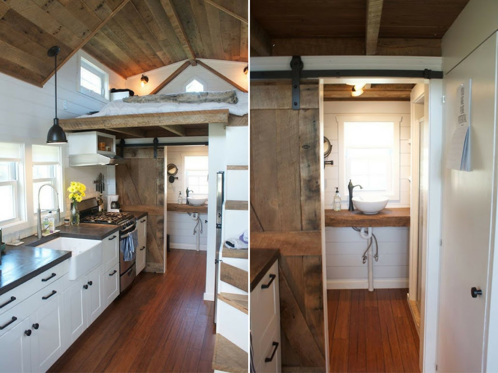 the home is outfitted with electrical and water hookups a propane stove a dual washerdryer and custom concrete countertops - Tiny House Washer Dryer