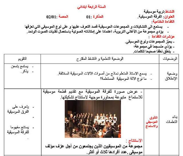 مذكرة التربية الفنية ( تربية موسيقية + تربية تشكيلية) للسنة الرابعة إبتدائي الجيل الثاني