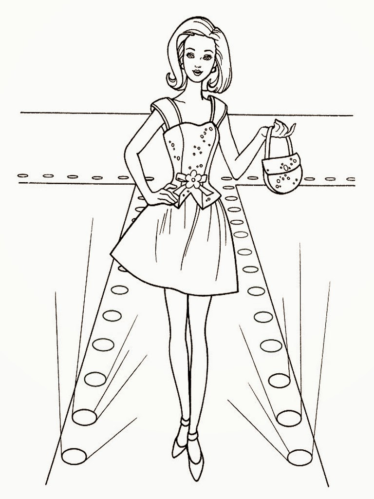 barbie model coloring pages