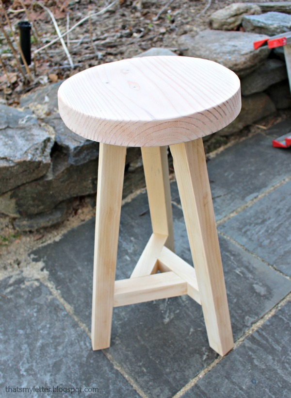 3 legged stool natural wood