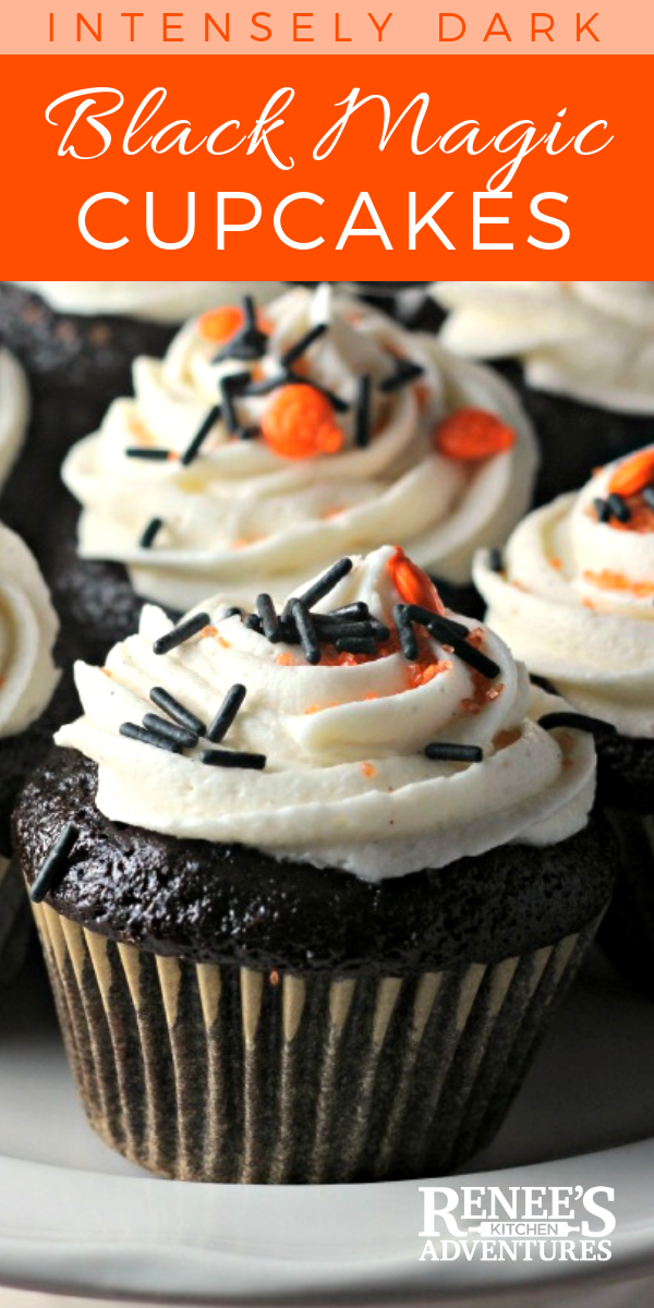 Black Magic Cupcakes with Vanilla Bean Buttercream Icing: The BEST deep chocolate cake recipe ever! Topped with sweet vanilla bean buttercream make a great treat for Halloween or anytime. #cupcakes #homemadecupcakes #chocolatecupcakes #bestchocolatecupcakerecipe