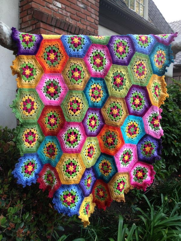 crochet hexagonal motif throw blanket - Afghan