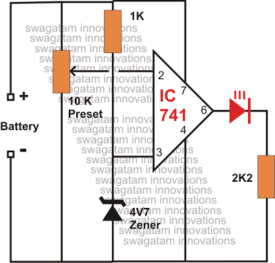 opamp based simple battery low indicator circuit