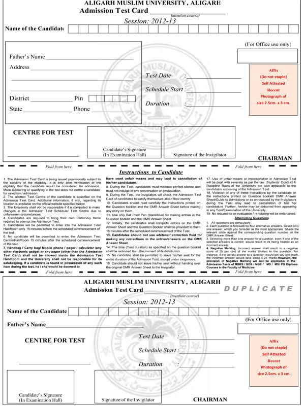 Download / Fill AMU Non Test Course Application Form 2012