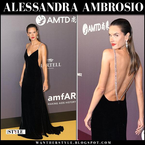 Alessandra Ambrosio in black gown tommy hilfiger at amfAR Gala red carpet fashion march 26