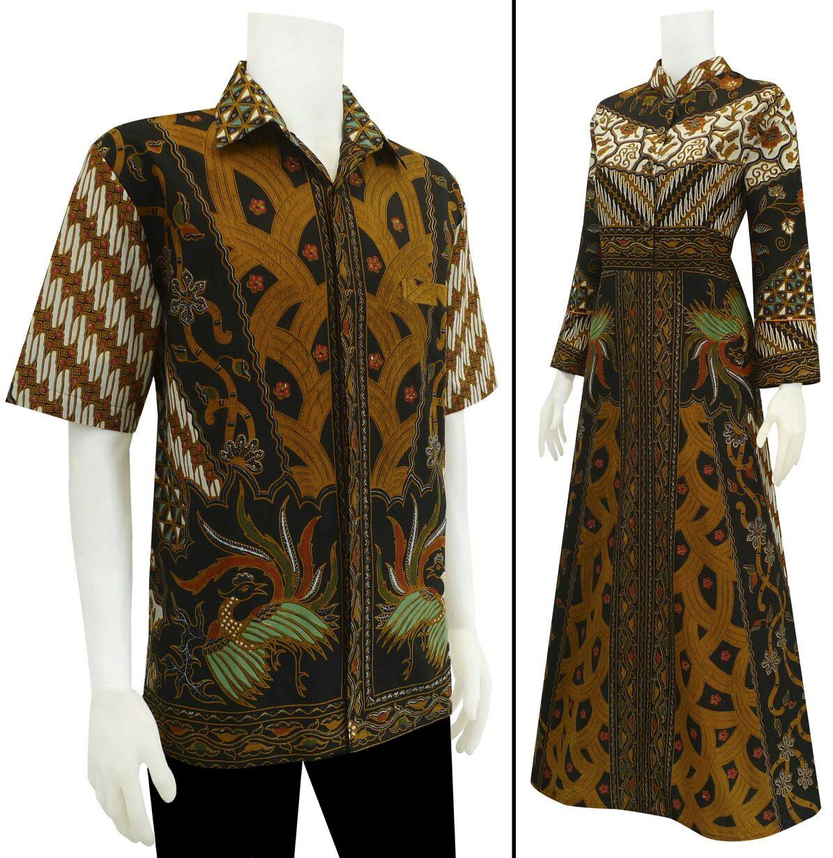 Baju Batik Gamis Sarimbit Motif Sinaran Batik Bagoes Solo