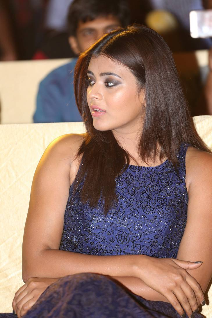 Hyderabadi Girl Hebah Patel In Blue Dress At Movie Launch Function