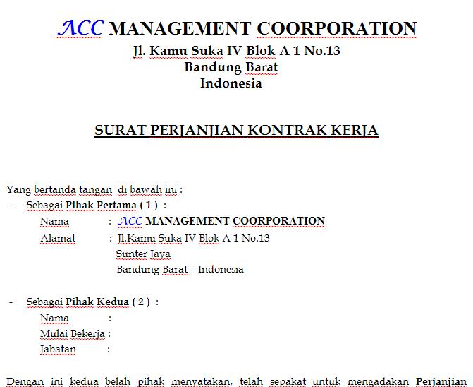 contoh surat perjanjian kontrak kerja sugeng story