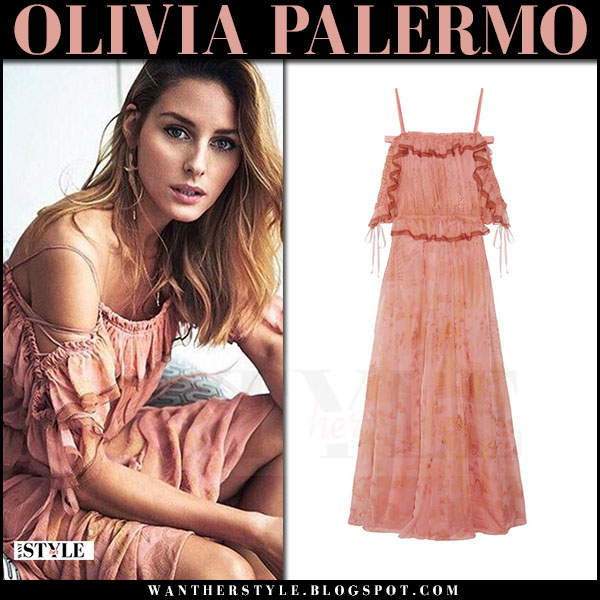 Olivia Palermo in peach pink off shoulder valentino dress elle spain april 2017 what she wore