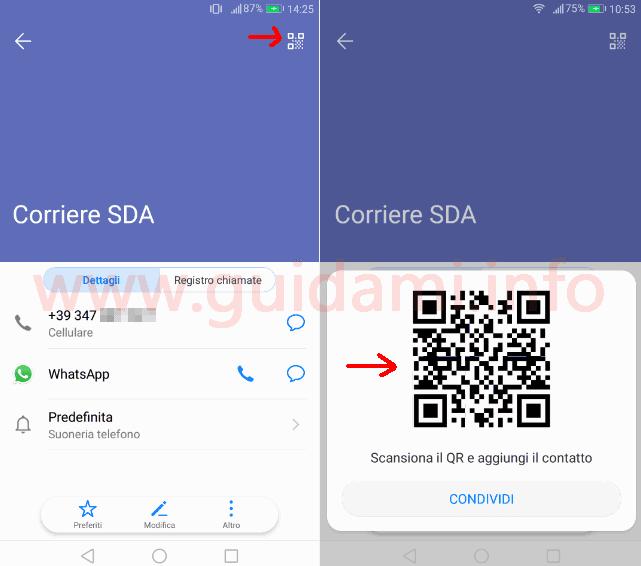 Android generare QR per condividere numero di telefono di un contatto