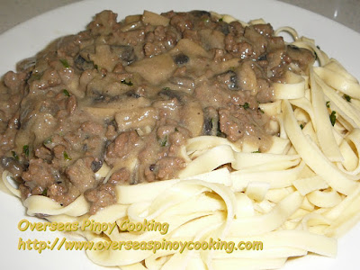 Pinoy Ground Beef Stroganoff over Egg Noodles Dish