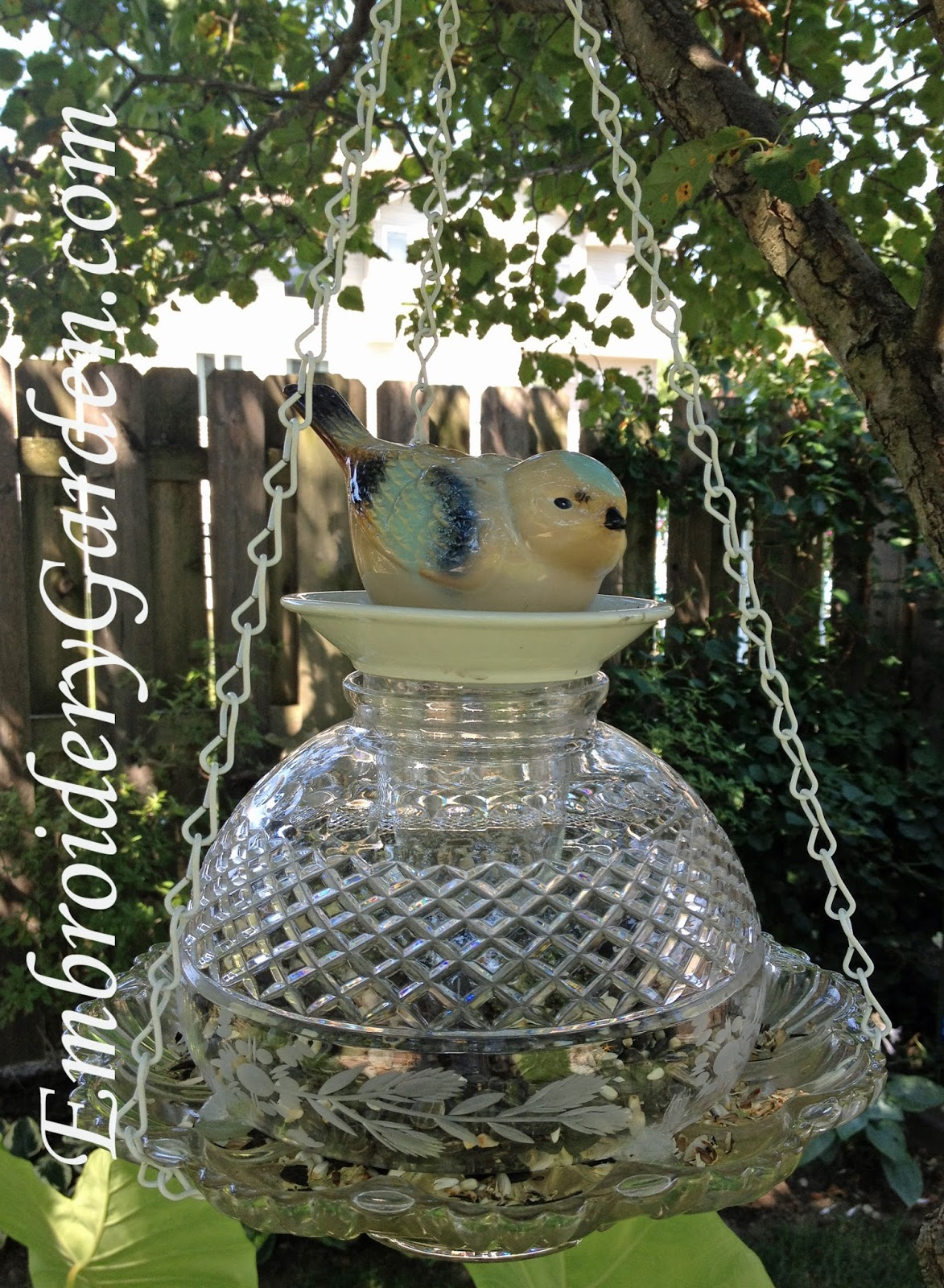 Embroidery Garden Bird Feeder Glass Yard Art