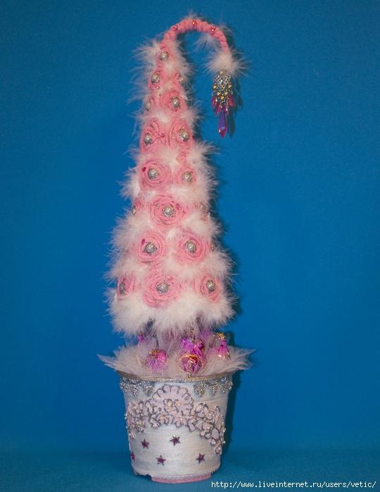 подарки, подарки на Новоый год, топиарий, елка своими руками, мастер-класс, топиарий своими руками, своими руками, интерьер новогодний, декор новогодний, Новый год, Рождество, декор праздничный, для интерьера,   елка из текстиля,  елка на конусе,Гламурная ёлка из трикотажных роз (МК), как сделать елку на конусе из текстиля своими руками