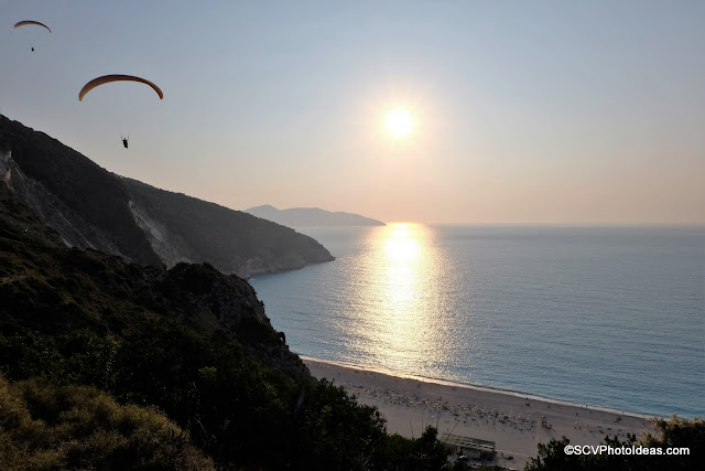 Paragliders at Myrtos Sunset No 1