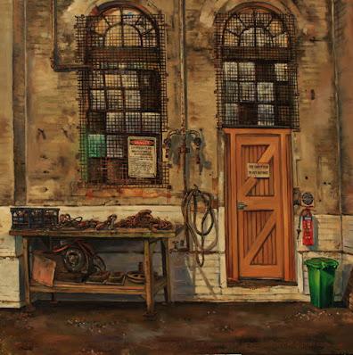 plein air oil painting of windows in the Large Erecting Shop, Eveleigh Railway Workshops by industrial heritage artist Jane Bennett