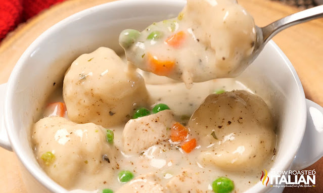bowl of creamy chicken and dumplings