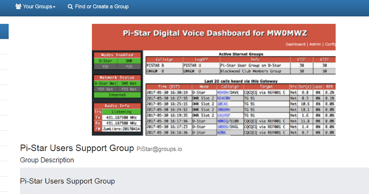 PI-Star Hotspot Interface: Pi-Star Users Support Group