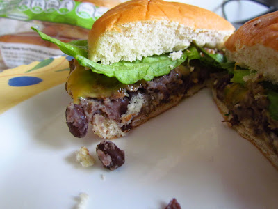 Black Bean Burgers cut in Half