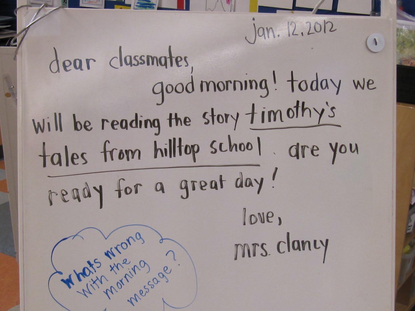 Kc Kindergarten Times Morning Message