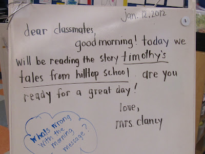 KC Kindergarten Times: Morning Message