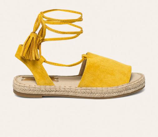 Espadrile galbene moderne de femei cu deupaje si snur ieftine