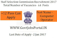 SSC Recruitment 2017 For Computer Operator Post