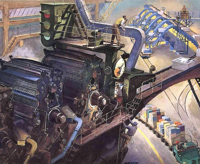 a Peter Helck illustration of a printing factory