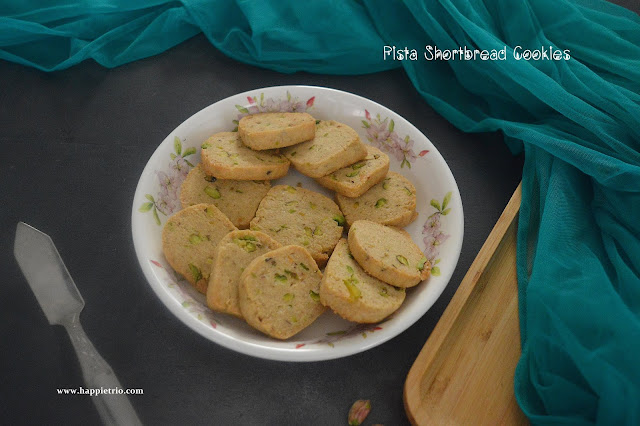 Pista Shortbread Cookies Recipe | Eggless Pistachio Cookies