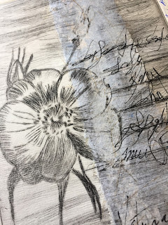 grabado punta seca, chine colle, escritura asémica