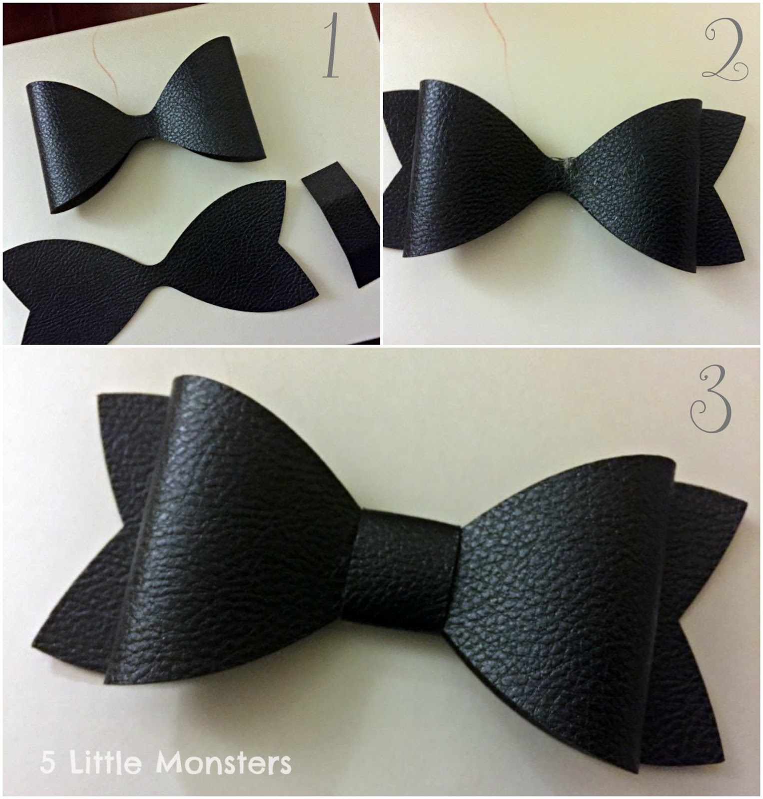 5 Little Monsters Faux Leather Hair Bows