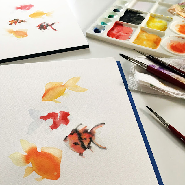 watercolor, painting, goldfish, Anne Butera, My Giant Strawberry