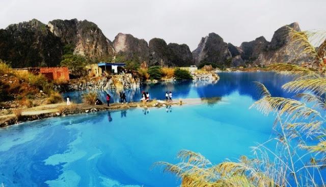 admire stunning beauty of Blue Lake
