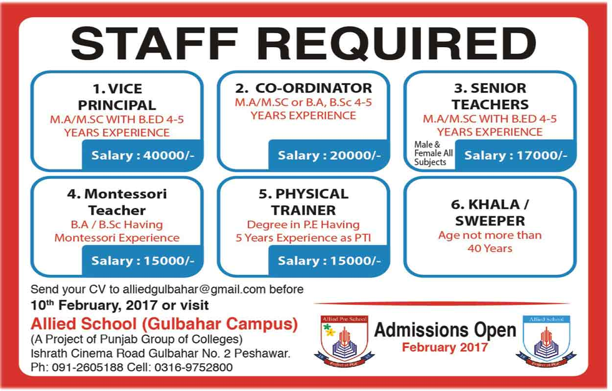 Jobs In Allied School Gulbahar Campus Peshawar