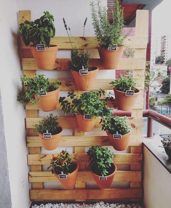 Horta Vertical / suspensa com vasos fixada em pallet