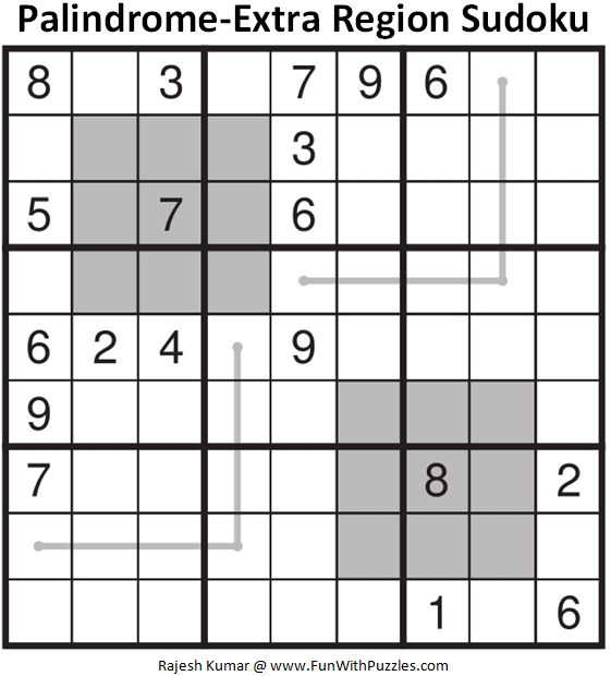 Palindrome-Extra Region Sudoku Puzzle (Fun With Sudoku #362)