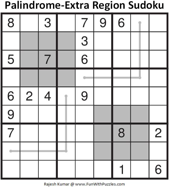Palindrome-Extra Region Sudoku Puzzle (Fun With Sudoku #362)