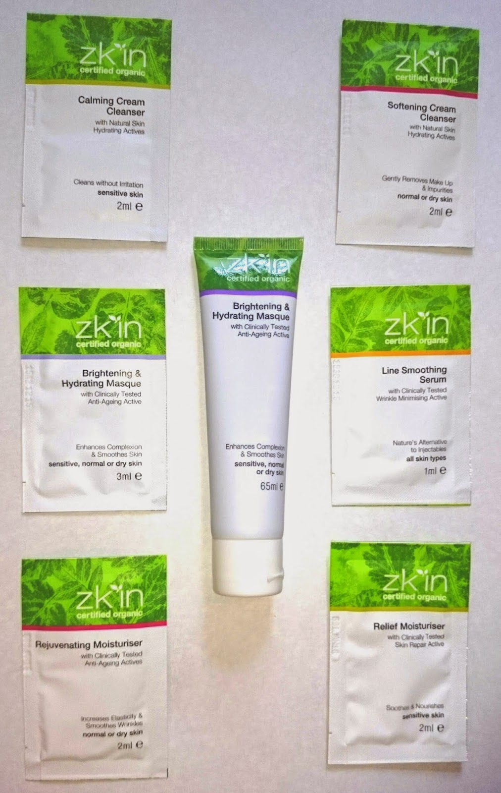 zk'in Brightening and Hydrating Masque, and samples unboxed