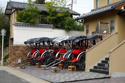 Pulled rickshaws in Arashiyama Kyoto
