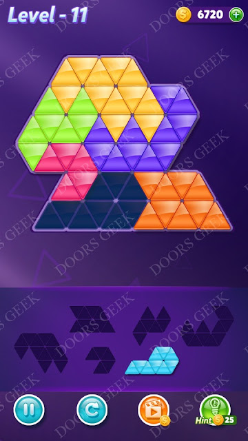 Block! Triangle Puzzle Intermediate Level 11 Solution, Cheats, Walkthrough for Android, iPhone, iPad and iPod