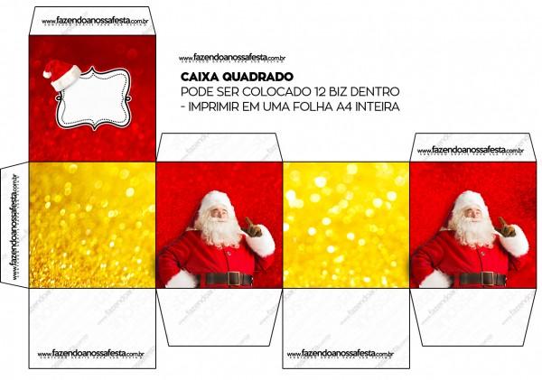 Cajas de Santa Claus en Rojo y Dorado para imprimir gratis.