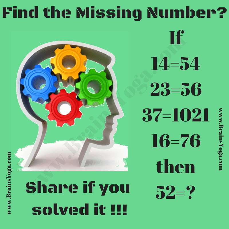 Missing Number Math Logic Puzzle with Answer-Brain's Yoga