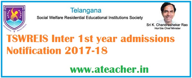 TSWREIS Inter 1st year admissions Notification 2017-18