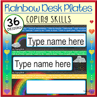 Rainbow Coping Skills Desk Plates