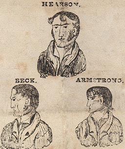 Caricatures of the hanged men, as appearing in a handbill from   1832